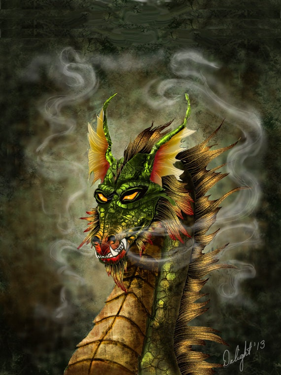 Evil Fire Dragon: Fire Drake Dragon Wall Art Dragon Wall Print Wyrme Dragon