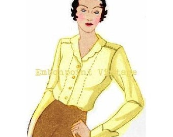 Plus Size (or any size) Vintage 1934 Blouse Pattern - PDF - Pattern No 95 Lorna