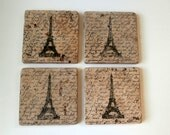 Antiqued Eifle Tower Coasters Set of 4