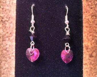Sterling Silver Swarovski Crystal pink heart dangle earrings