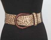 RESERVED // CHEETAH Leopard Brown Leather Pony Hair Belt // 70's Belt Size 28 S M Wide Cinch Sexy 80's One of a Kind