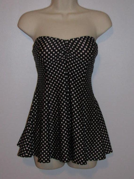 Polka Dot Swim Dress Strapless Gottex Swimsuit One Piece