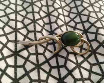 Brooch Pin with Green Stone