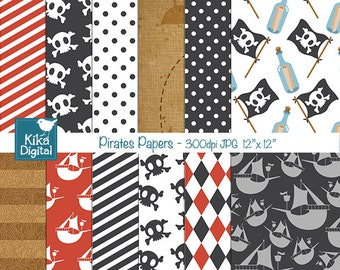Pirates Digital Papers - Scrapbooking, card design, invitations, stickers, background, paper crafts, web design - INSTANT DOWNLOAD