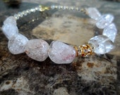 """Reserved Custom Order Large Delicate Pink Quartz Hoop Earrings with Crystals """"Beauty of Quartz"""""""