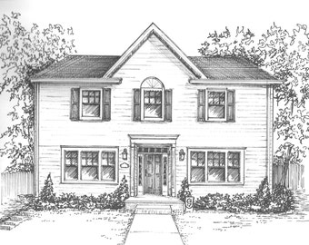 "Custom Home Portrait - Family home drawn in ink, 5""x 7"" commission art from photo - architectural sketch - family house drawing"