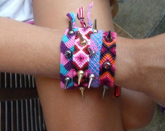 Spiked macrame bracelets, colorful bracelet, spiked bracelet, rock style, gift for her, colorful threads, handwoven bracelet, armparty, ooak