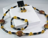 3 Piece Jewelry Set in Amber and Black