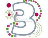 Merritt's Party Number Three -- Birthday Applique Machine Embroidery Design