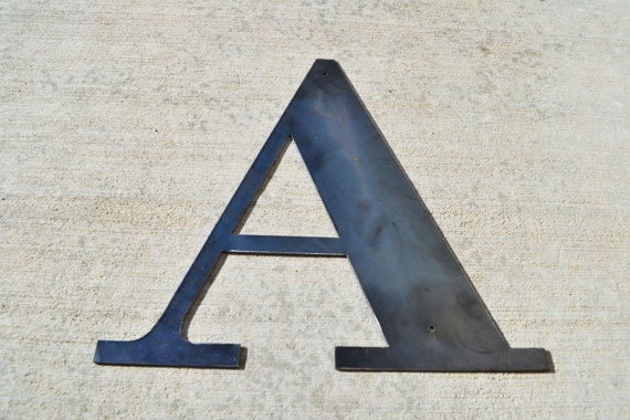 Metal letters 18 inch industrial metal letter for Large metal monogram letters