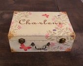 Personalized Memory Box, Shabby Chic Keepsake Box, Journal Box with Coral Butterflies, MHB