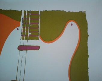 Large Guitar Original Print based on a Fender Telecaster