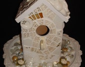 RESERVED FOR CYNTHIA.  Mosaic Art Gold and White Broken Recycled China Angel Birdhouse Cottage Shabby Chic