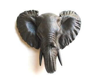 DARK BROWN Small Faux Taxidermy Elephant Wall Hanging wall mount / faux taxidermie / safari animal / nursery decor / kids room/ office
