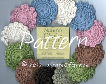 PATTERN for Organic Facial Scrubbies, Crochet, INSTANT DOWNLOAD