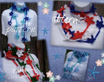 Star Lariat Scarf PATTERN, Crochet, Skinny Scarf, Bunting, Garland, INSTANT DOWNLOAD