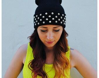 BEANIE SALE - Studded Black Beanie Hat Circular Studs CHOOSE - Silver or Gold Studs -
