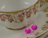 Bright pink crystal dangle earrings on sterling silver chain and half hoop earwires