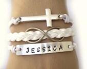 Personalized bracelet,cross bracelet,infinity bracelet,wish bracelet.91.