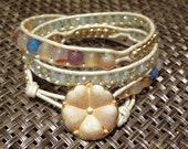 Aqua Fire Agate wrap bracelet, 14k Gold filled beads, Czech Crystal with gold flower closure