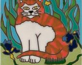 Tiger Stripe Cat, kitten, hot plate, wall decor, kitchen backsplash, bathroom mural installation, mosaic, original hand crafted in the USA