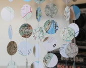 Map Garland, Wedding Decoration, Map Bunting, Travel Themed Decoration, Map Decorations, Paper Garland, Made to Order - 10 feet long each
