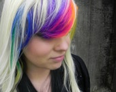 Toxic / Blonde, Black, Green, Yellow, Orange, Purple, Blue, Pink / Long Straight Layered Rainbow Wig