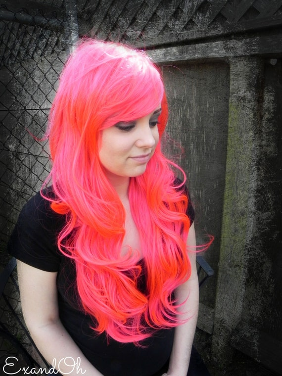 Hot Pink / Long Wavy Straight Layered Wig Extra Thick by