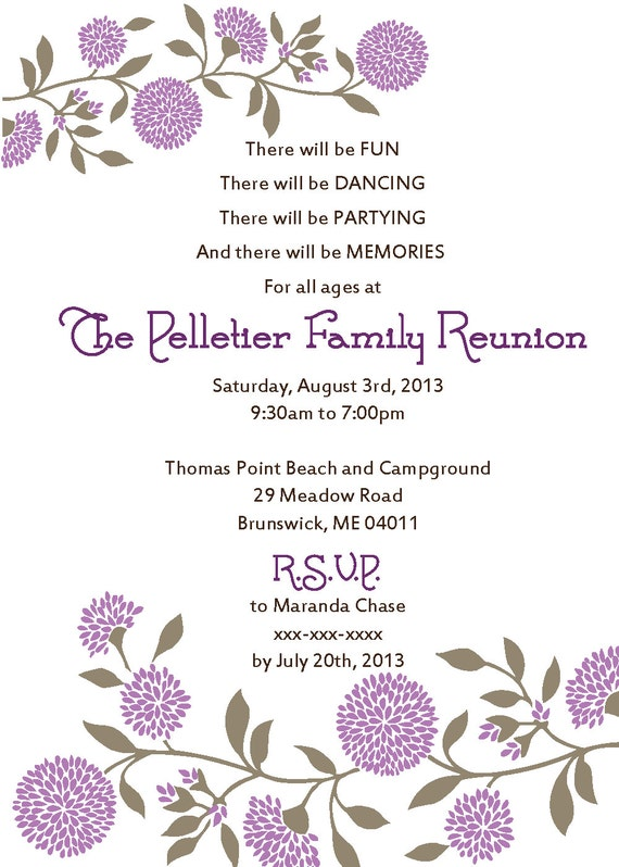 Family Reunion Invitation  Invitations For Family Reunion