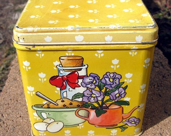Yellow cookie tin, vintage square food canister with cookie recipe prints, 80s