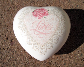 Heart ring box on sale, vintage white porcelain ceramic box, pink rose, Love, calligraphy, cursive writing