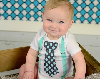 Baby Boy, Mint Green and Grey Boy Tie Bodysuit with Suspenders - Pick your own