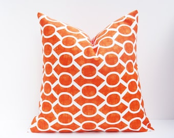 Decorative Throw Pillows .Orange Pillow.Orange and White..20x20 inch pillows.Decorator Pillow Cover.Printed fabric on both sides