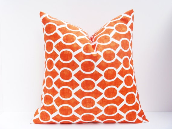 Orange And White Decorative Pillows : Decorative Throw Pillows. Orange Pillow. Euro by EastAndNest
