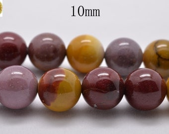 15 inch strand of Mookaite smooth round beads 10mm