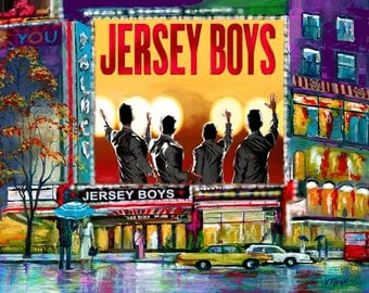 """New York City. Times Square. Broadway Show Musical Jersey Boys. Painting on Giclee Canvas 16""""x20"""" with mat frame. By the Artist"""
