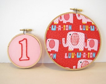 First Birthday Elephant Embroidery Hoop Nursery Wall Art , Party, Home Decor red, pink, hearts, animals, number one for kids baby
