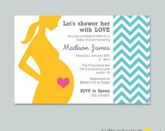Baby Shower Invitation - Chevron Print