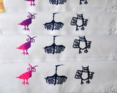 Birds and Owl Screen Printed Upcycled Linen Cloth Napkins Serviettes. Eco Friendly Dinner Napkins.
