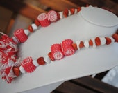 Rubber, Plastic and Semiprecious Stones - Red and White - Eco friendly