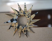Sun Paper Brooch - eco friendly - Gold and Black/White Stripes