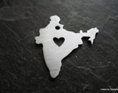 """Sterling Custom Design Stamping Blank -- 1"""" India Shape w/ Heart cut out"""