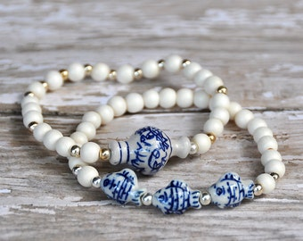 Blue and White Ceramic Fish Bead Bracelets by BeadRustic FREE SHIPPING TODAY