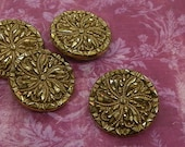 """GOLD LUSTER Black Glass BUTTONS, Set of 4, 1 1/4"""", 1940s-1950s, Vintage  La Mode Clothing Fasteners"""