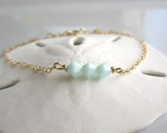 Mint Crystal Bracelet, 14K gold filled bracelet, simple everyday delicate jewelry, minimalist jewelry