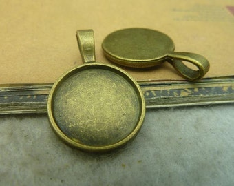 20 round bezel setting cabochon mounting, antique bronze, 18mm- WC3435