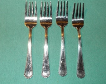 """Four (4), 6 1/4"""" Stainless, Salad Forks, from Continental Gourmet, in the COG 16 Pattern."""