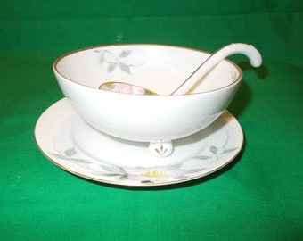 One (1), Antique, Porcelain, Hand Painted, Three Footed, Nippon Mayonnaise Bowl with Underplate and Ladle.