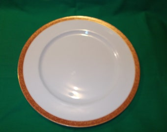 "One (1),  10 3/8"" Porcelain Dinner Plate, from Crown Empire, in the Empress Pattern."