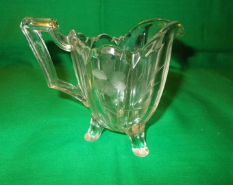 One (1), 6 oz. Pressed Glass Creamer, from Indiana Glass in the No. 125 Pattern. Quadruped